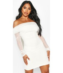 dobby off shoulder long sleeve mini dress, white
