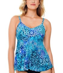 swim solutions santorini printed underwire tankini top, created for macy's women's swimsuit