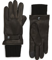 men's allsaints touchscreen compatible deerskin leather gloves with removable wool lining, size x-large - black