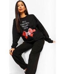 zwangerschaps 'best christmas present ever' sweater, black