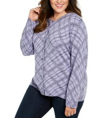 karen scott plus size button-front print sweater, created for macy's
