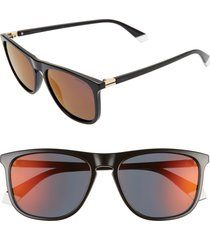 women's polaroid 56mm polarized rectangle sunglasses -
