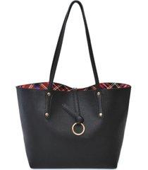 imoshion handbags inside plaid pattern reversible tote