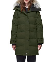 women's canada goose shelburne genuine coyote fur trim down parka, size x-small - green