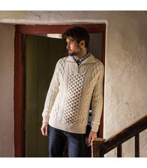 men's kinnagoe aran sweater cream l