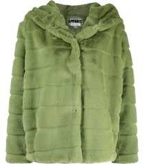 apparis goldie faux-fur panelled coat - green