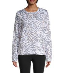 marc new york performance women's leopard-print top - leopard combo - size l