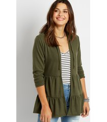 maurices womens olive tiered open front hooded cardigan green