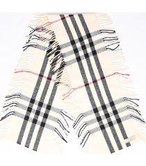 burberry multicolor checked cashmere fringe scarf cream/multicolor sz: