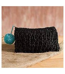 jute clutch, 'fantastic charcoal' (peru)