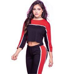 buzo adulto femenino bicolor negro / rojo marketing  personal