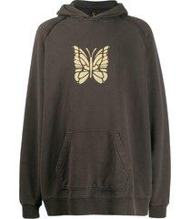 needles butterfly print hoodie - neutrals