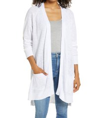 plus size women's caslon linen & cotton cardigan, size 1x - white