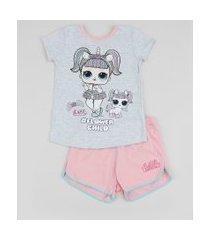 pijama infantil lol unicórnio manga curta cinza mescla claro