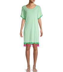 pom-pom cotton-blend coverup dress