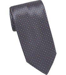 diamond grid silk tie