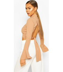 turtle neck tie back top with fluted sleeves, camel