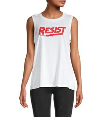 rebecca minkoff women's resist graphic muscle tank - white red - size xs