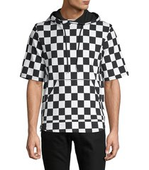 prps men's patterned stretch hooded top - white black - size xl