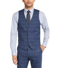 alfani men's slim-fit stretch navy blue plaid suit vest, created for macy's