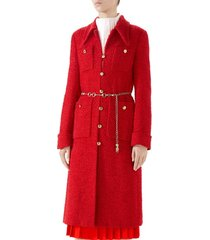 women's gucci belted tweed coat
