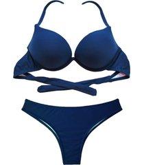 biquíni bojo bolha alça estreita divance azul marinho calcinha tradicional