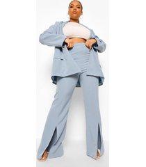 plus getailleerde broek met wijde pijpen en split, pastel blue