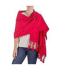 wool blend shawl, 'red islands' (guatemala)