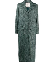 l'autre chose cross-hatch textured longline coat - green