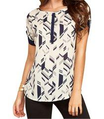 blusa ariel blanco-negro  para mujer croydon