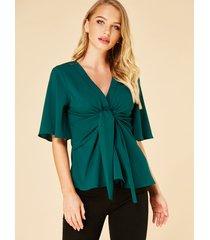 yoins blusa de media manga con cuello en v y espalda torcida verde