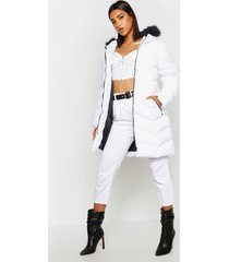 faux fur hooded panelled parka, white