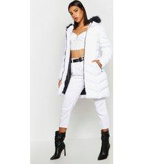 parka jas met faux fur capuchon en panelen, wit