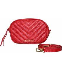 bolsa transversal campezzo pochete couro vermelho