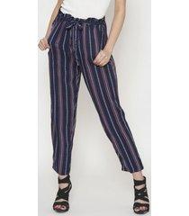 pantalon con tira estampado rayas azul 609 seisceronueve