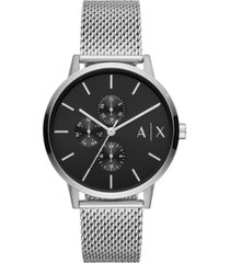 ax armani exchange men's cayde stainless steel mesh bracelet watch 42mm