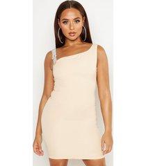 diamante buckle strap mini dress, beige