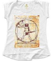 camiseta tshirt rock cool tees guitarra da vinci feminina - feminino