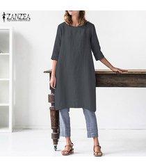 zanzea verano de las mujeres flojas ocasionales del algodón holgado tapas largas camisa de las señoras vestido más el tamaño (no incluir los pantalones) -gris oscuro