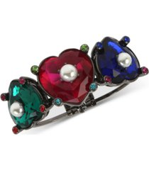 betsey johnson hematite-tone multicolor stone & imitation pearl heart bangle bracelet