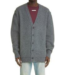 men's maison margiela men's decortique distressed wool cardigan, size medium - grey
