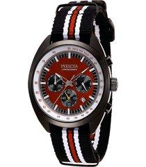 reloj invicta modelo 29992 negro, rojo, plata hombre