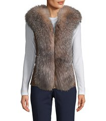 made for generation fox fur & leather vest