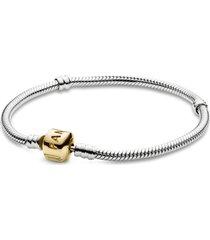 bracelete de prata de lei com fecho de ouro