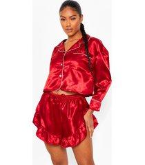 premium pyjama set met broek, steentjes en shorts, red