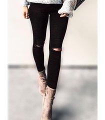 black ripped details skinny leg jeans