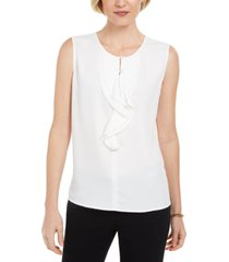 kasper ruffled sleeveless blouse