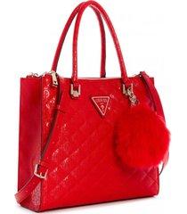 cartera astrid large status satchel rojo guess