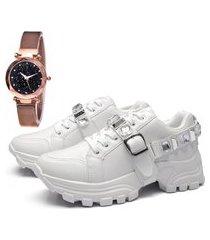 tênis sapatênis elegant com relógio gold dubuy 699la branco