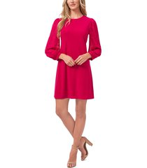 cece mixed media long sleeve dress, size small in fuchsia glow at nordstrom
